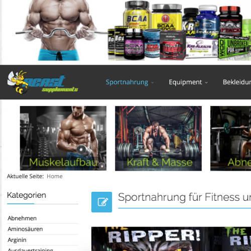 Deutscher Gym Wear Shop mit verschiedenen Marken
